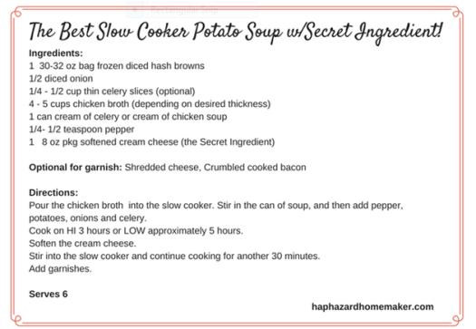 Potato Soup w/Secret Ingredient