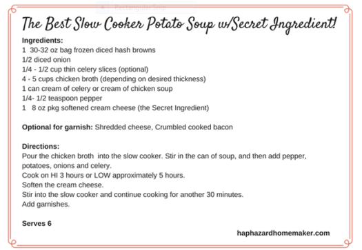 Potato Soup w/Secret Ingredient