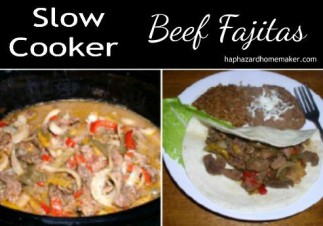 Easy Slow Cooker Beef Fajitas Collage - haphazardhomemaker.com