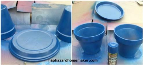 Painting Terra Cotta Clay Pots Birdbath
