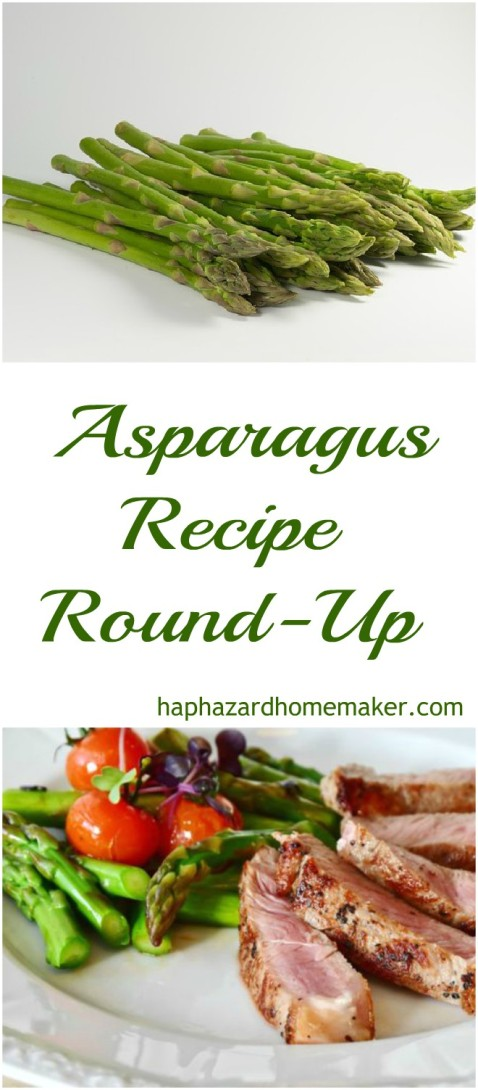 Fresh Asparagus, Asparagus Recipe Round-Up, Grilled Asparagus and Cherry Tomatoes with Grilled Steak on White Plate