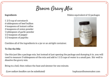 Make Your Own Brown Gravy Mix Recipe Card - haphazardhomemaker.com