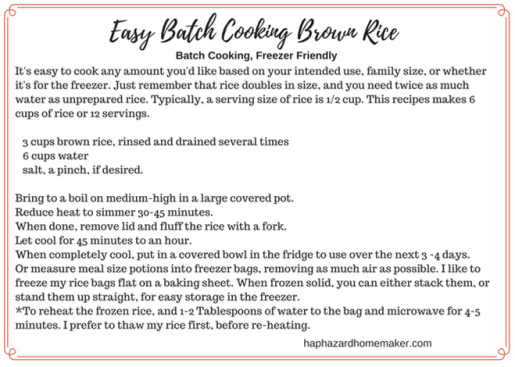 Freezer Friendly Brown Rice