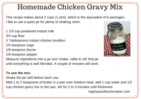 Homemade Chicken Gravy Mix Recipe Card - haphazardhomemaker.com