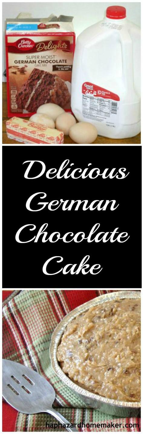 Easy German Chocolate Cake PIN -haphazardhomemaker.com