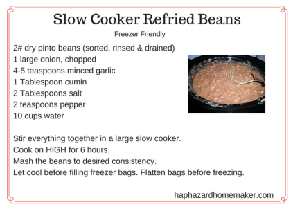 Freezer Friendly Slow Cooker Refried Beans haphazardhomemaker.com