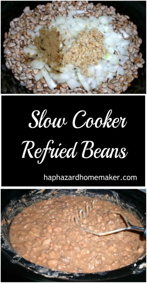 Freezer Friendly Slow Cooker Refried Beans Pin Collage - haphazardhomemaker.com