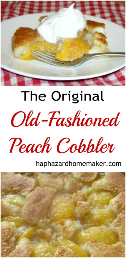 Piece of Peach Cobbler Topped with Whip Cream on White Plate with Fork on Red and White Tablecloth, Original Old-Fashioned Peach Cobbler