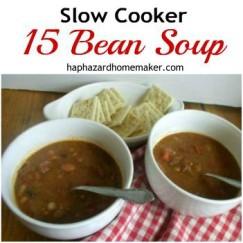Crockpot 15 Bean Soup & Crackers - haphazardhomemaker.com