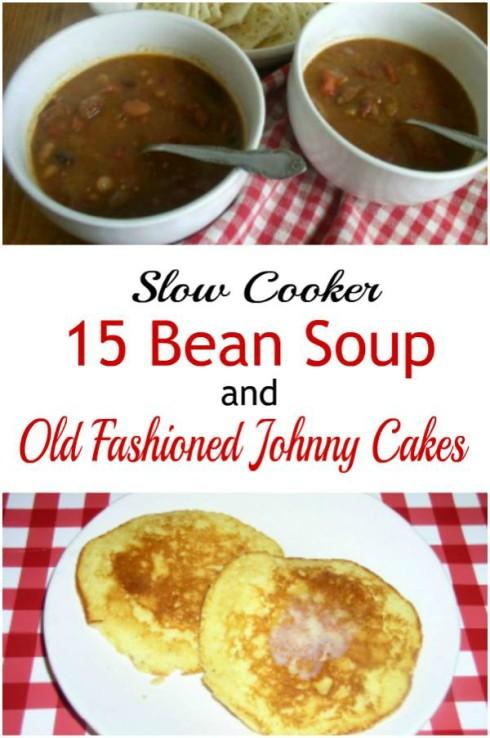 Crockpot 15 Bean Soup and Hoe Cakes - haphazardhomemaker.com