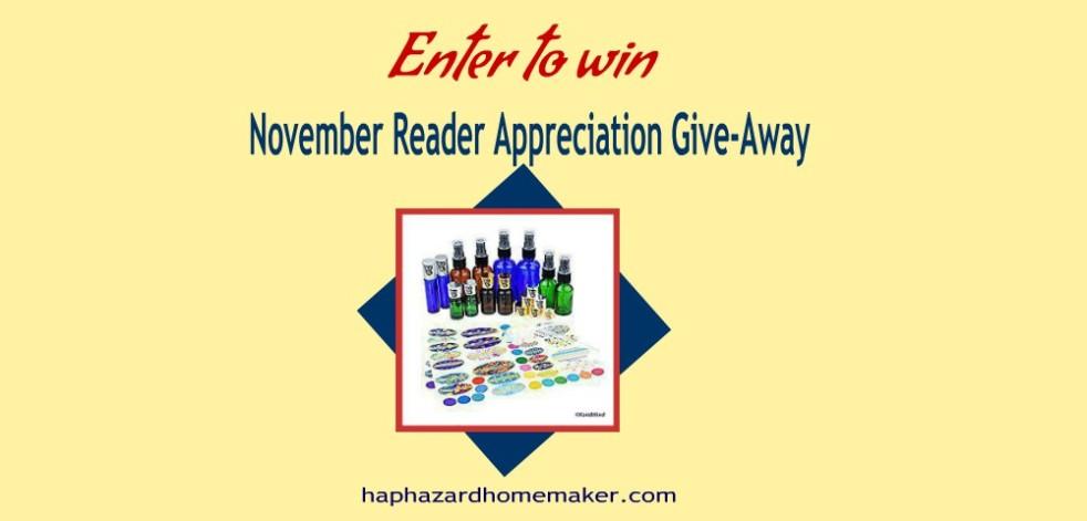 November Reader Appreciation Give-Away - haphazardhomemaker.com