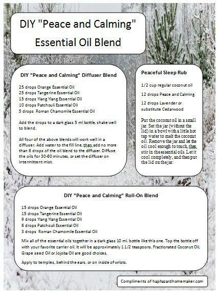 "DIY ""Peace & Calming"" Essential Oil Blend - haphazardhomemaker.com"