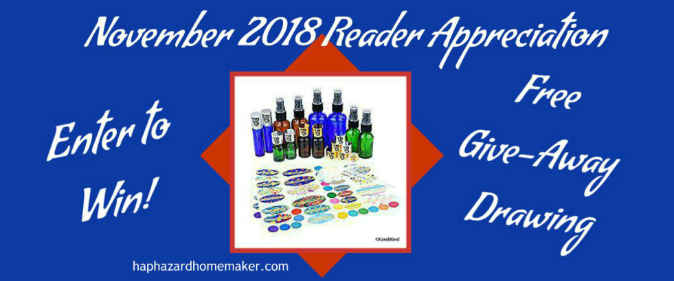 November Reader Appreciation Give-Away Reminder - haphazardhomemaker.com