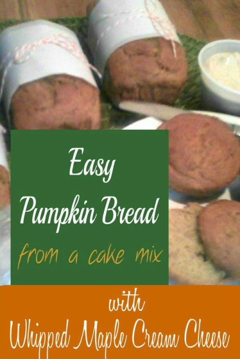 Easy Pumpkin Bread from a cake mix with Whipped Maple Cream Cheese - haphazardhomemaker.com