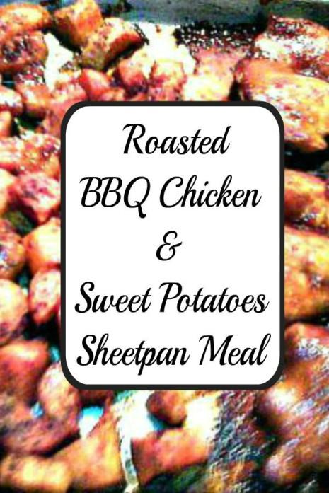 Roasted BBQ Chicken & Sweet Potatoes Sheetpan Meal -haphazardhomemaker.com