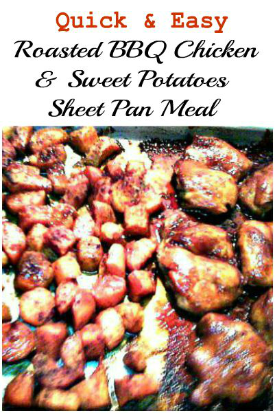 Roasted BBQ Chicken & Sweet Potatoes Sheetpan Meal - haphazardhomemaker.com