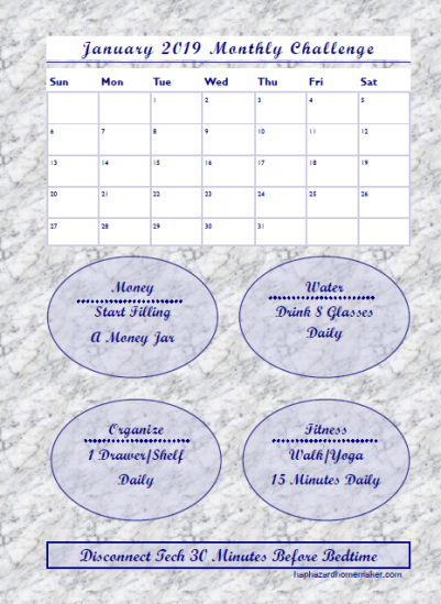 January 2019 Monthly Challenge Tracker -haphazardhomemaker.com