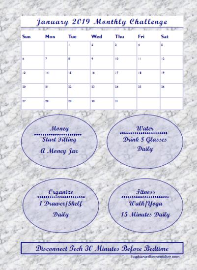 January 2019 Monthly Challenge Tracker -haphazardhomemaker.com