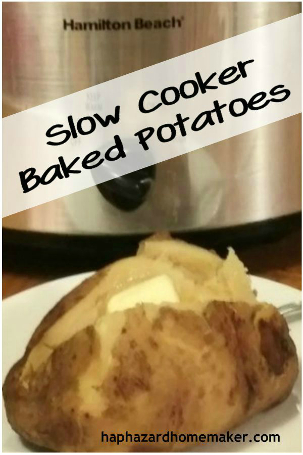 Slow Cooker Baked Potatoes - haphazardhomemaker.com