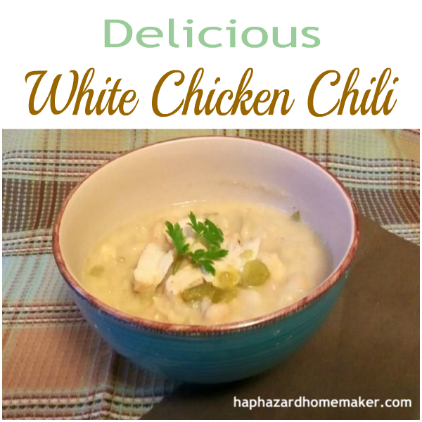 Easy White Chicken Chili -haphazardhomemaker.com