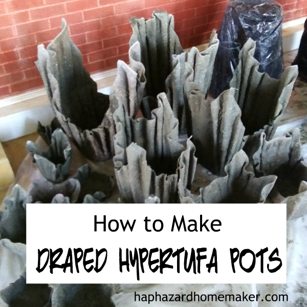 How to Make Cement Fabric Pots- haphazardhomemaker.com