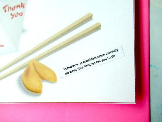 chinese fortune card closeup