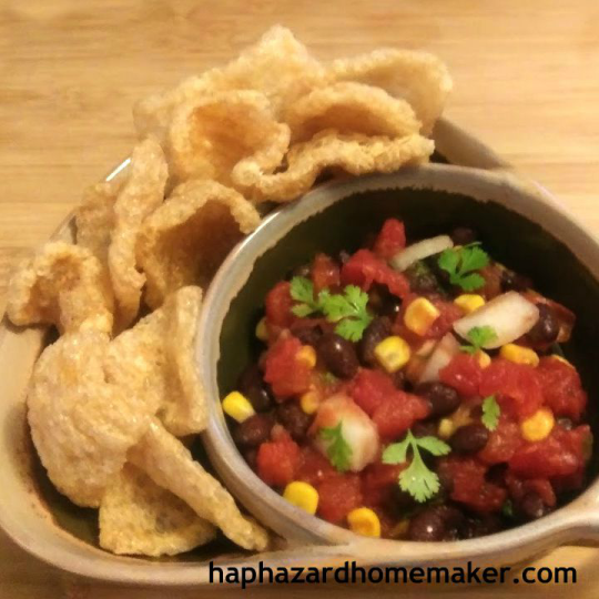 Black Bean Salsa with Corn and fried pork rinds