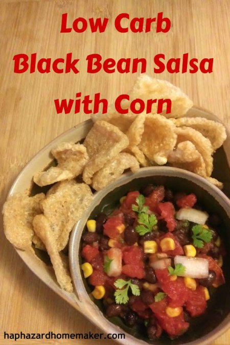 Low Carb Black Bean Salsa with fried pork skins