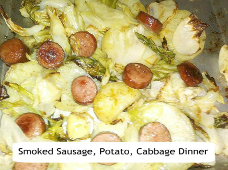 Smoked Sausage, Potato, Cabbage Sheet Pan Dinner