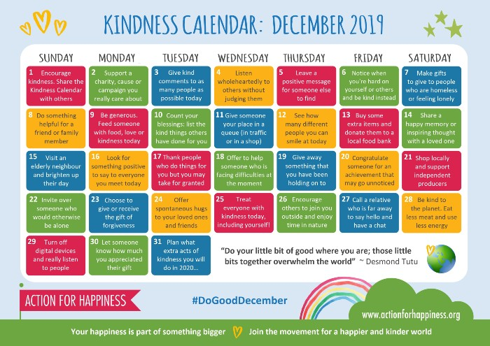 Calendar of December Acts of Kindness - haphazardhomemaker.com