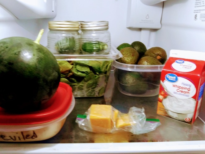 Avocados in refrigerator